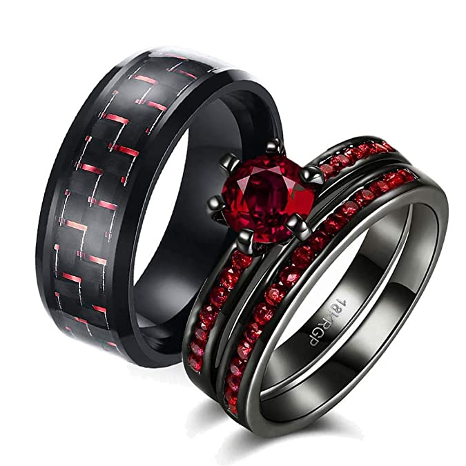 1b82883e59 Details about Two Rings His and Hers Couple Ring Bridal Set His Hers 3pc Women  Black Gold Fill