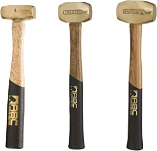product image for ABC Hammers Brass Hammer with 12.5-Inch Wood Handle,combo of 1,2 & 3-Pound