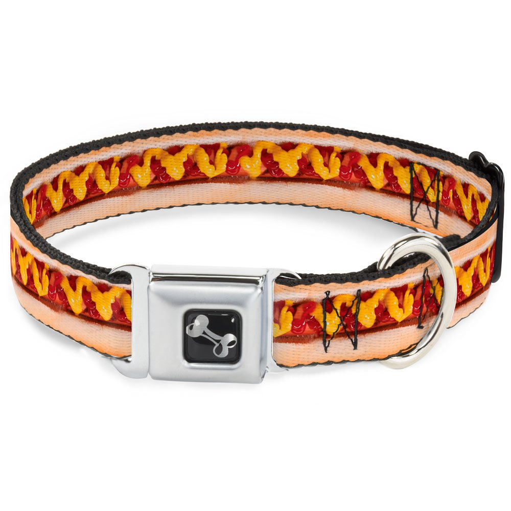 Buckle-Down Hot Dog with Mustard & Ketchup Vivid Dog Collar Bone, Wide Small 13-18