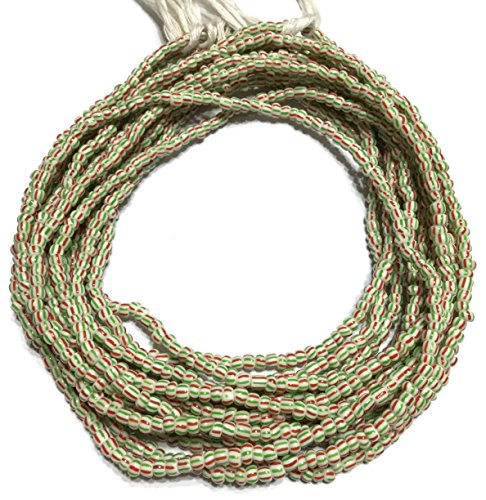 Vintage Ghana Green and red stripe waist seed Beads Glass African Trade Beads - Green Glass Trade Beads