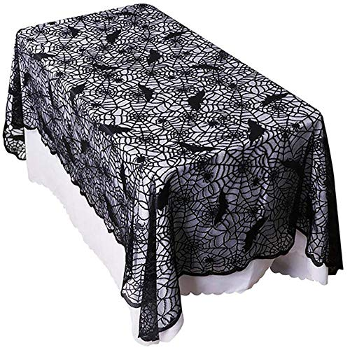 Spooky Halloween Dinner (Rectangular Halloween Bat Spider Web Tablecloth Decor, Black Bat Cobweb Lace Table Cover for Halloween Party Décor Dinner Spooky Meals Scary Movie Nights Decoration, 60