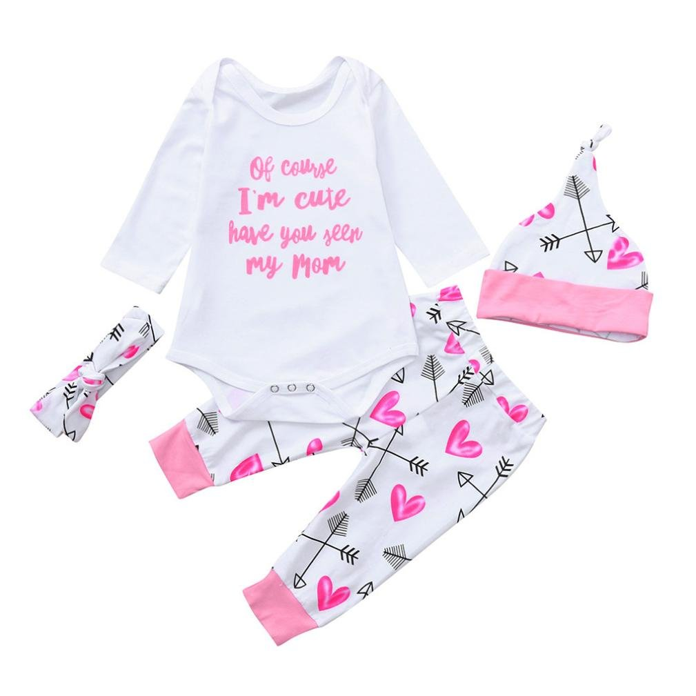 eebecf72c058 Amazon.com  Lavany 4PC Baby Clothes Set Long Sleeve Quotes Romper+Pants  Cotton Suit for Girl Boy  Clothing