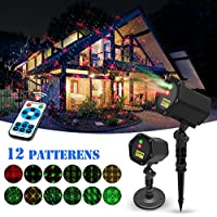 Innoo Tech 12 in 1 Pattern Waterproof Red and Green Stars Light with Timer Preset & RF Wireless Remote