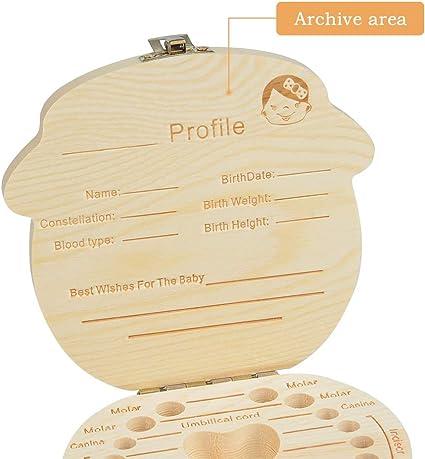 WOWOSS Caja de Dientes de Beb/é Caja Almacenamiento Madera Almacenaje para Dientes de Leche Cajas de Recuerdos para Reci/én Nacidos Ni/ña