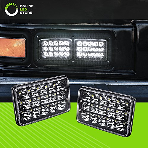 Single Sealed Beam - 2pc Universal 4x6 45W LED Rectangular Sealed Beam Headlight Assembly with Black Housing [H4 Socket] [High/Low Beam] [IP67] (H4651 H4652 H4656 H4666 H6545 Replacement) - for Jeep Wrangler & More