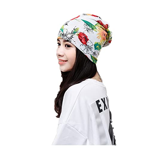 Amazon.com  U2BUY 3-in-1 Floral Beanie Hat Unisex Headwear Chemo Cap ... 3105e10e9b14