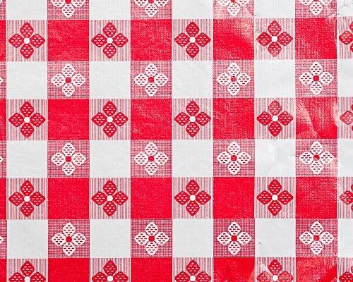 Trimplace 54 Inch Vinyl Tavern Check Fabric With Non Woven Flannel Back (RED)