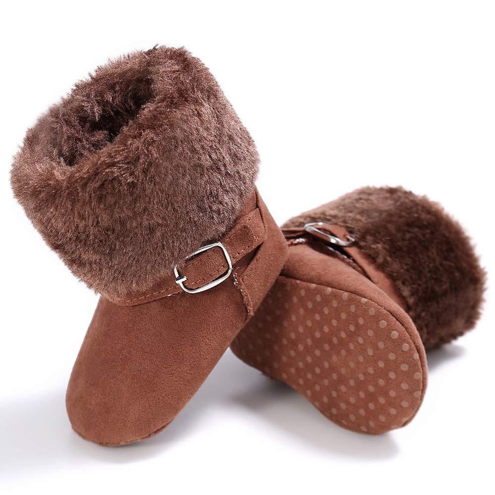 Boys Girls Plush Fur Winter Warm Cashmere Ankle Toddler Shoes Newborn Soft Sole Prewalker Snow Boots 0-18 Months