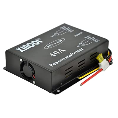 XINCOL® Reducteur De Tension DC/DC 24V à 12V 40A transformateur Convertisseur de tension 24 V DC à 12 V DC Portable Alimentation modulaire étanche Régulateur de Volt pour Auto Moto véhicule automobile High-tech