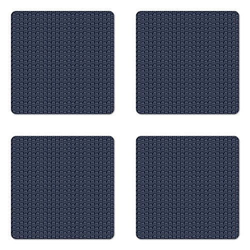 (Lunarable Blue and White Coaster Set of Four, Monochrome Herbs Foliage Leaves Pattern Organic Tarragon Silhouettes, Square Hardboard Gloss Coasters for Drinks, Dark Blue White)