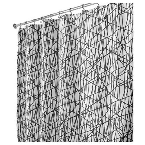 InterDesign Abstract Fabric Shower Curtain, 72 x 72, Black/White