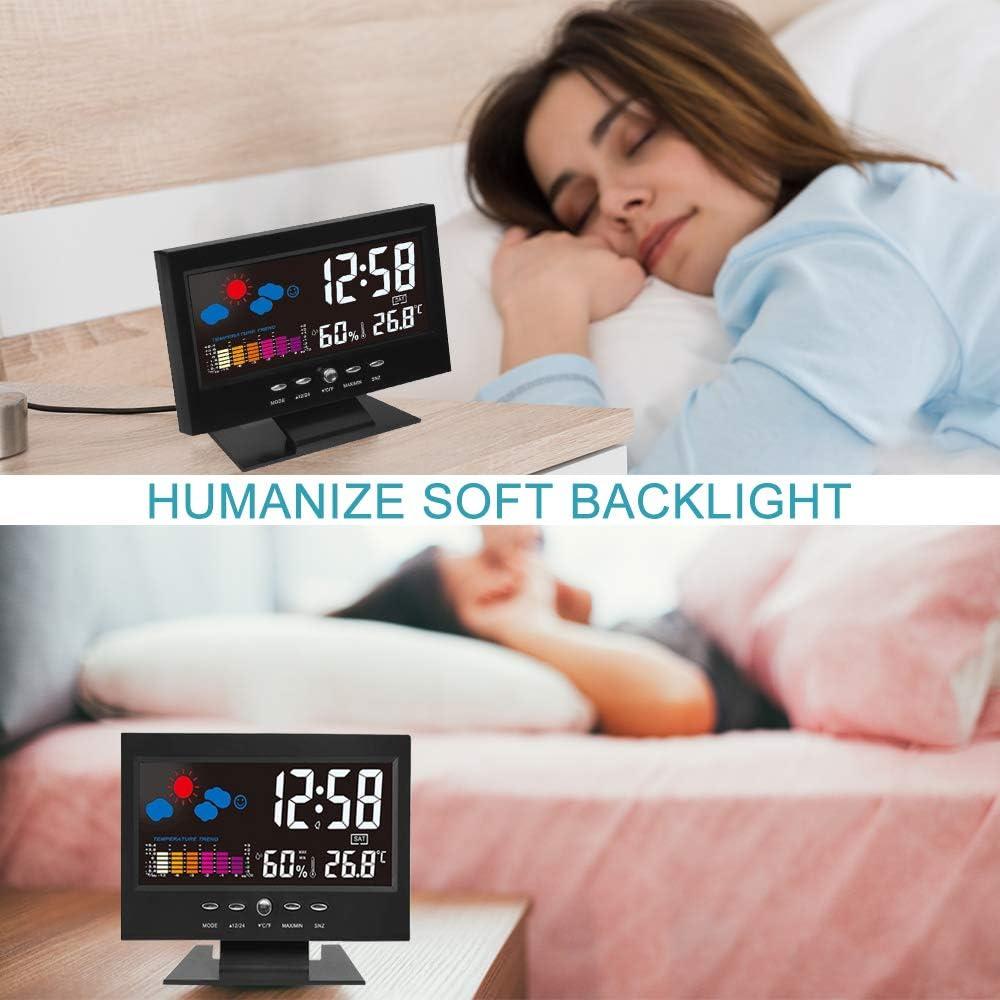 Mmester R/éveil R/éveil num/érique de Chevet R/éveil de Mode R/éveil num/érique LED avec Station horaire//Affichage LCD//Temp/érature et Date//Charge USB//12/&24h,Tout Noir.