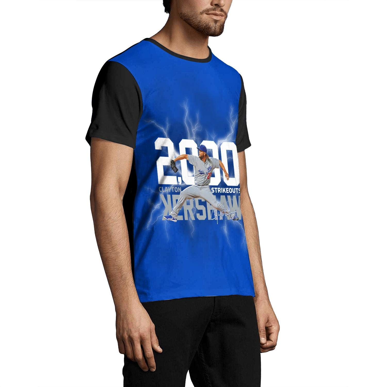 Mens Tees #50 Clayton-Kershaw-Los-Angeles-22-blue Hemline Pattern Print T-Shirts Crew Neck Black Short Sleeve Tops