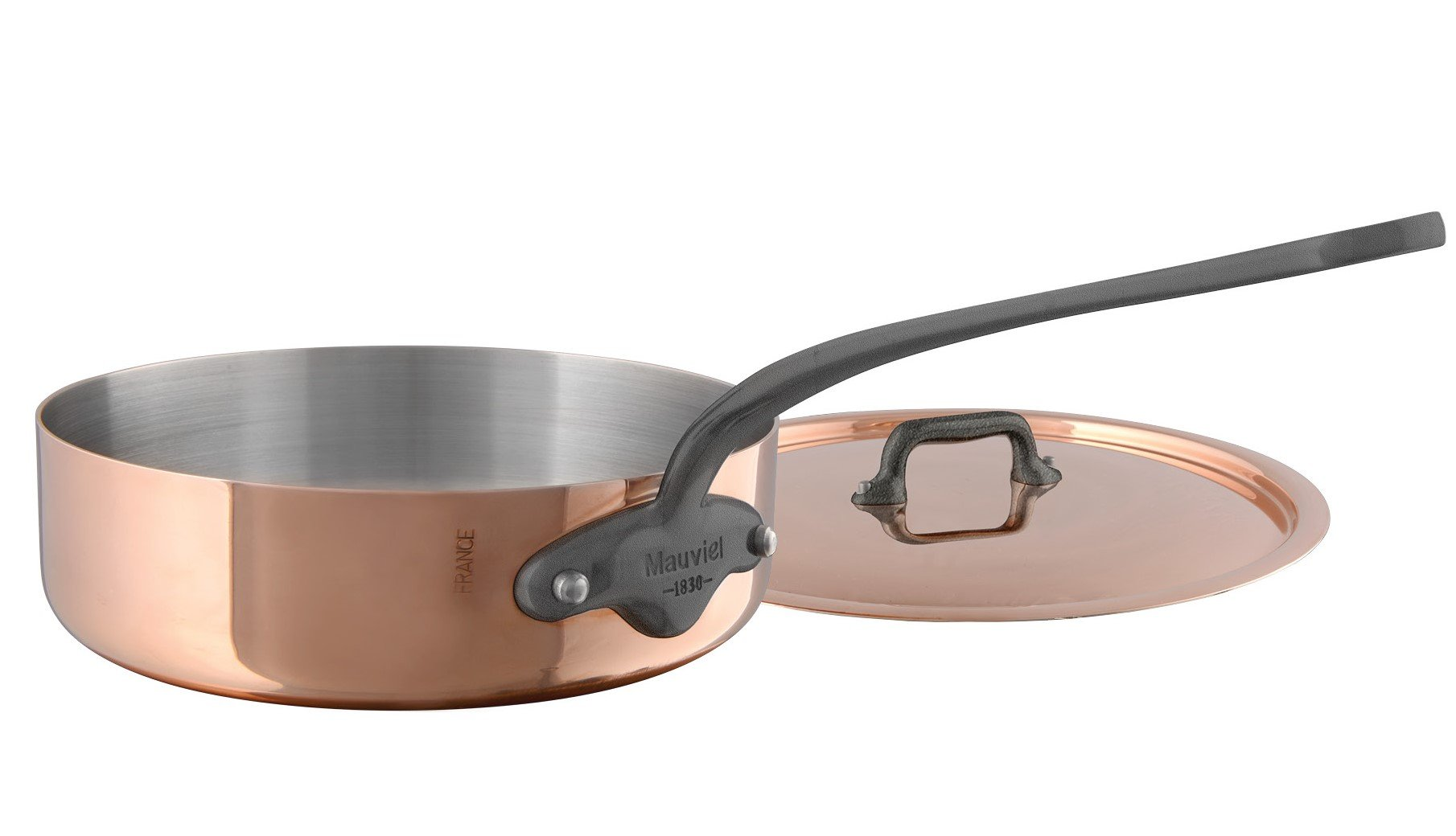 Mauviel M'Heritage M150C 6451.25 Copper Saute Pan with Lid. 3L/3.5 quart 24 cm./9.5'' with Cast Stainless Steel Iron Eletroplated  Handle