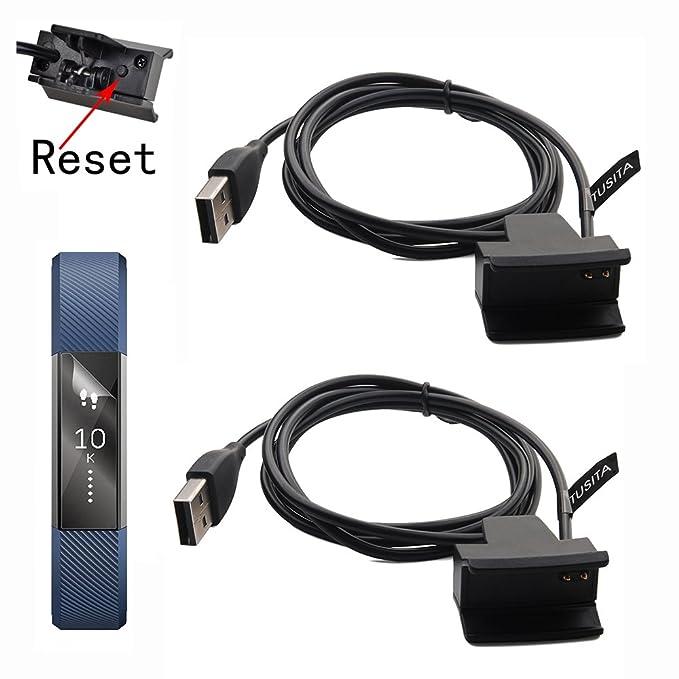 [2-PACK] TUSITA Cargador con botón de reinicio para Fitbit Alta / Fitbit Ace - Cable de carga USB Clip Cradle 100cm - Accesorios de Smart Fitness ...