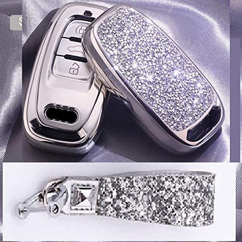 Royalfox(TM) 3 Buttons 3D Bling Smart keyless Remote Key Fob case Cover for Audi A3 S3 RS3 A4 S4 RS4 A5 S5 RS5 A6 S6 RS6 A7 S7 RS7 A8 S8 Q3 SQ3 Q5 SQ5 Q7 TT TTs TT RS (Silver)