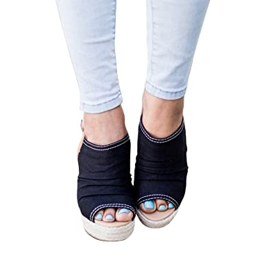 40062026b153a Image Unavailable. Image not available for. Color  Seraih Womens Wedge  Shoes Summer Espadrille Ankle Strap Platform Sandals