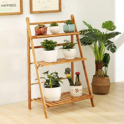 Unho 3 Tier Bamboo Plant Stand Flower Rack Display Shelf Ladder For