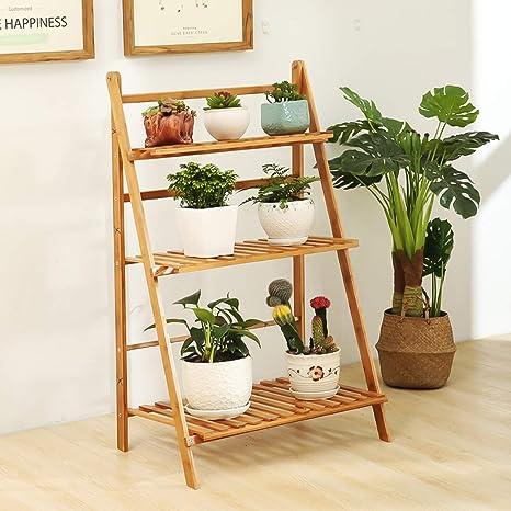 UNHO Escalera para Flores de Bambú Estantería Decorativa para Macetas Soporte para Plantas Exterior Interior Jardín