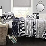 Lush Decor Llama Striped Quilt Reversible 4 Piece Kids Bedding Set Twin Navy