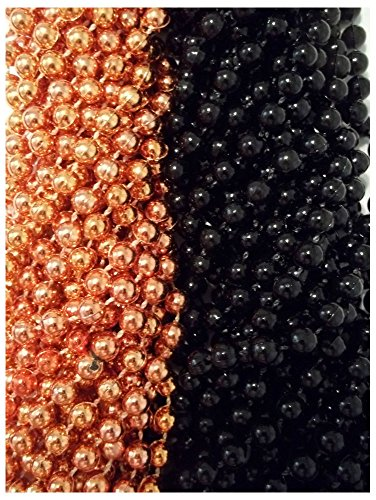 48 Orange Black Round Mardi Gras Beads Party Favors Halloween Necklaces 4 Dozen