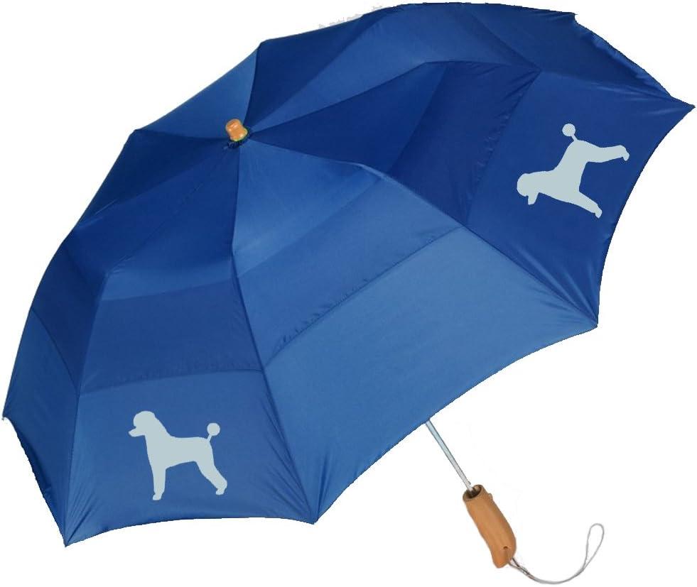 Peerless 43 Arc auto open folding umbrella with/Poodle Black Silhouette