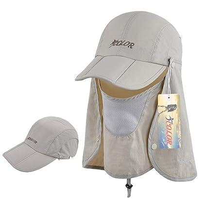 c348bc7dcc4 iColor Sun Caps Flap Hats 360° Solar Protection UPF 50+ Sun Cap Removable  Neck Face Flap Cover Caps