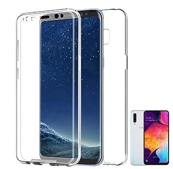 PLANETMOVIL Funda 360 Compatible con [ Samsung Galaxy A50] (6,4 Pulgadas) Carcasa Doble Cara 360 de Silicona Delantera + Trasera TPU rigido Doble 100% ...