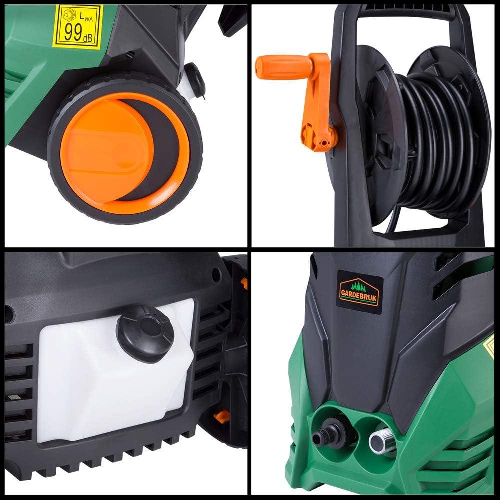 Druck: 105 bar, max. F/ördermenge 300 l//h, 7 tlg, 6m Schlauch, 5m Kabel, Kabelhalter, 1400 Watt, Fl/ächenreiniger, Reinigungsmittelbeh/älter Gardebruk Hochdruckreiniger