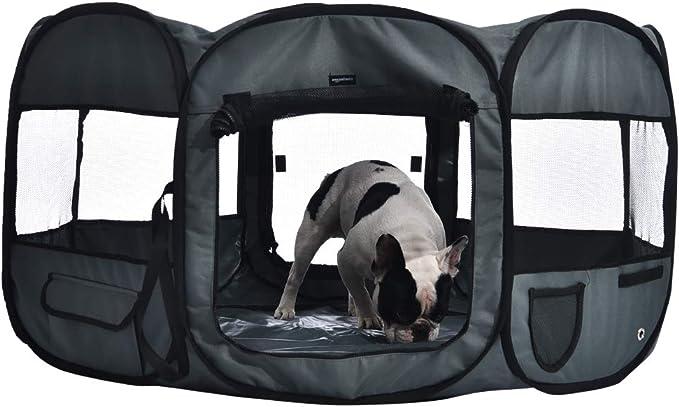AmazonBasics – Corral para mascotas suave y transportable, 114 cm, Gris