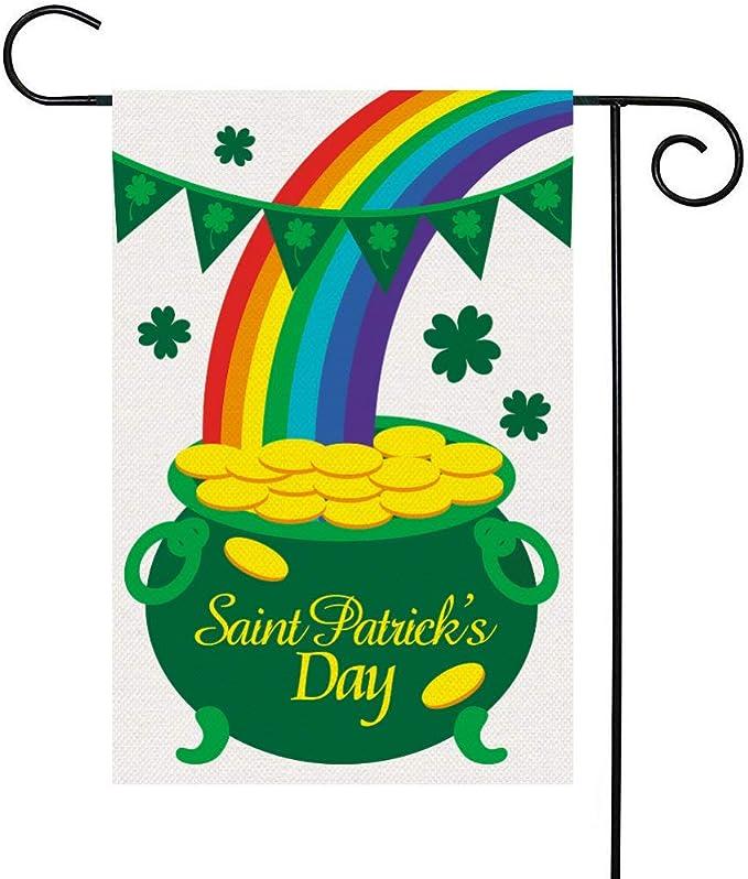 Patrick/'s St St Patty/'s Day Leprechaun Shamrock Rainbow Treasure Pot of Gold Theme Rectangle Pennant Happy Birthday Banner Sign Decoration