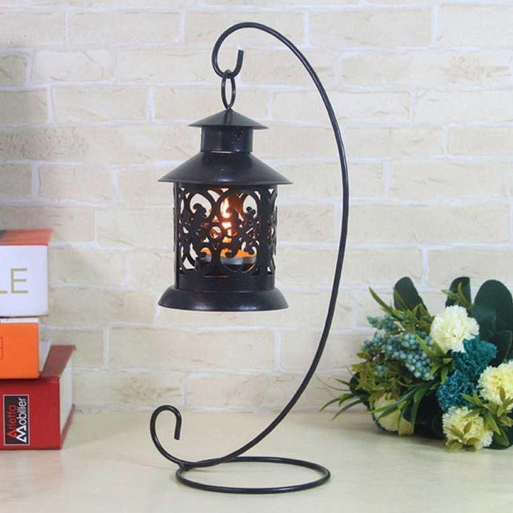 9.06 inch Iron Candle Hanging Stand Holder Glass Bauble Candlestick Plant Glass for Home Garden Decoration Wedding Christmas Tree Decoration(Black, White)(Black) Lionina