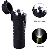 Saibit Electric Lighter And Flashlight in one, Dual Arc USB Rechargeable Lighter, Waterproof Safety Windproof Flameless Electronic Plasma Lighter for Cigarette, Candle, BBQ Camping Stove Activity