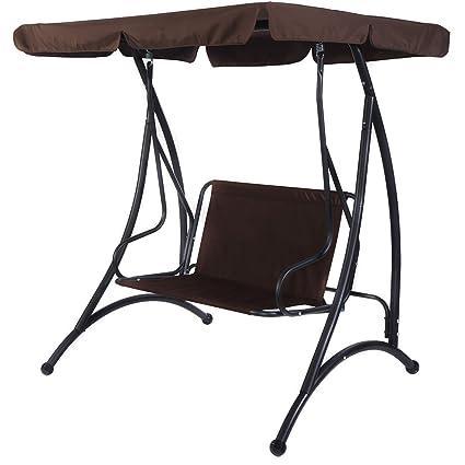 Superb Amazon Com Adumly Color Brown 2 Person Canopy Swing Chair Machost Co Dining Chair Design Ideas Machostcouk