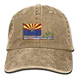 Vintage Cactus Arizona FlagWashedDenim Cap Adult Unisex Adjustable Cap
