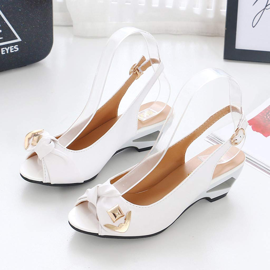 Women Ladies Summer Wedge Sandals for Women Peep Toe Causal Single Shoes Sandals