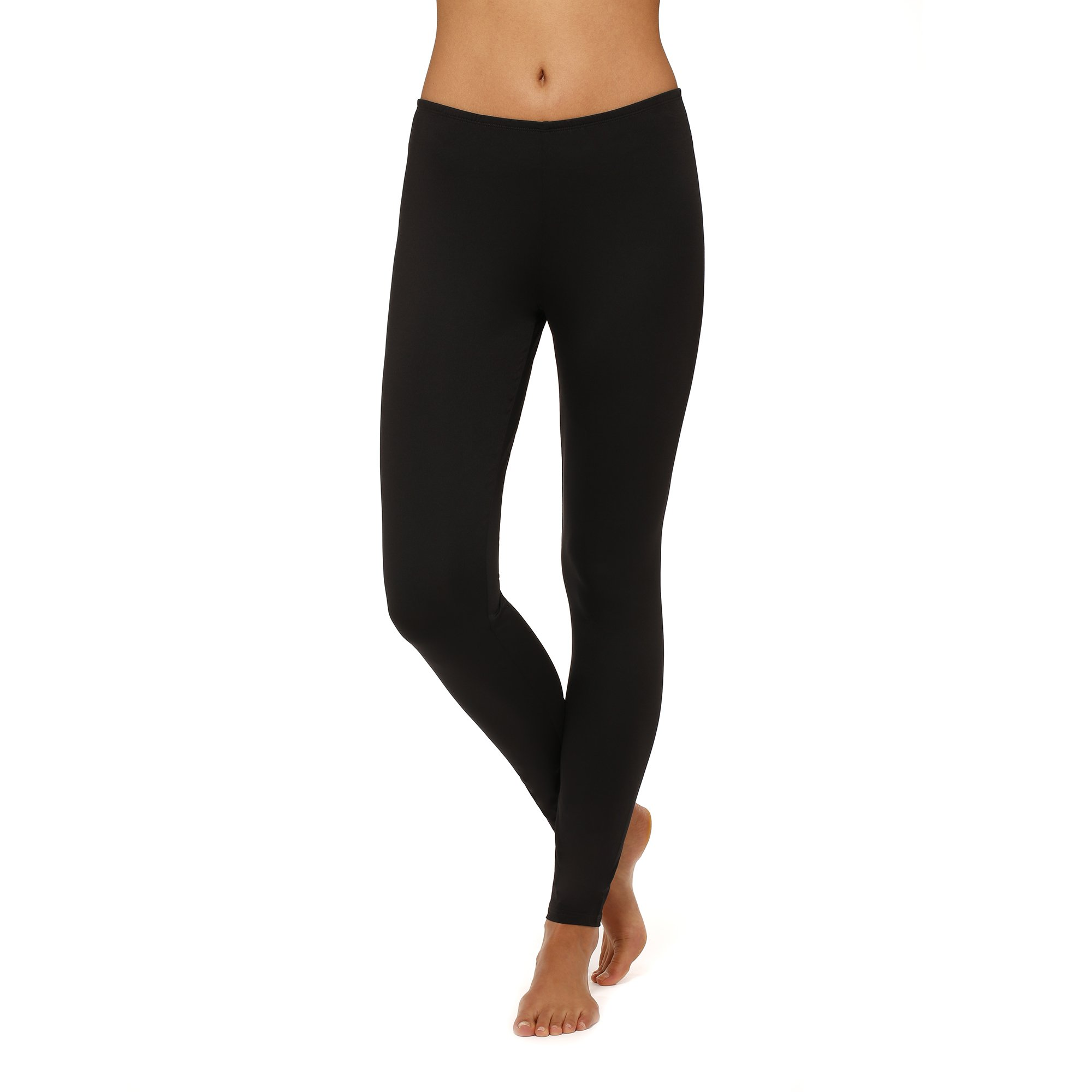 Womens ClimateRight by Cuddl Duds stretch microfiber Legging (Large, Black)