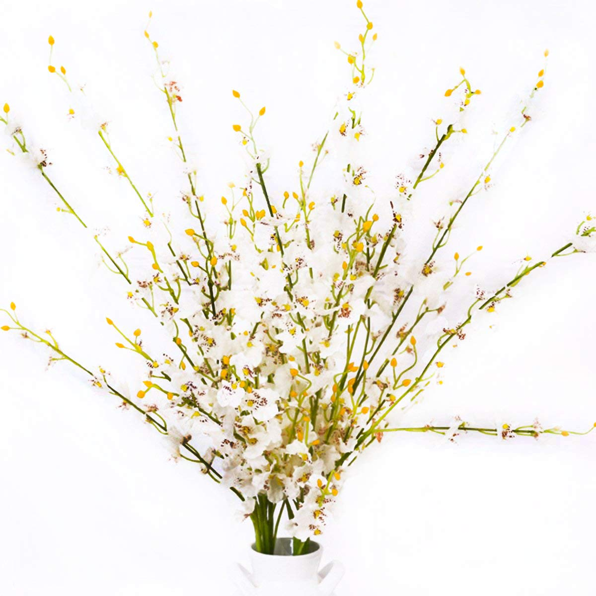 MISSWARM-10-Pieces-377-Long-of-Orchid-Dancing-Lady-Butterfly-Artificial-Flower-Artificial-Flowers-Fake-Flower-for-Wedding-Home-Office-Party-Hotel-Restaurant-Patio-or-Yard-DecorationWhite
