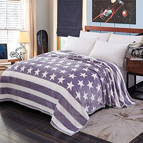 Znzbzt Thick coral fleece blankets flannel blanket single student dormitory blankets double short plush linens, blankets,150x200cm single use, silver star Dream Edge