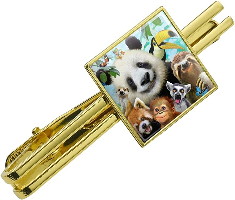 Silver or Gold Graphics and More Zoo Animals Selfie Panda Bear Sloth Meercat Monkey Lemur Square Tie Bar Clip Clasp Tack