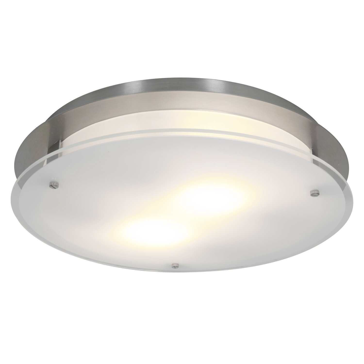Access Lighting 50038LEDD-BS/FST Vision Round LED Light 16-Inch Diameter Flush Mount with Frosted Glass Shade, Brushed Steel Finish