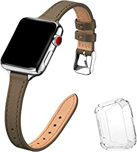 STIROLL Slim Leather Bands Compatible with Apple Watch Band 38mm 40mm 42mm 44mm, Top Grain Leather Watch Thin Wristband for iWatch SE Series 6/5/4/3/2/1 (Taupe with Silver, 38mm/40mm)