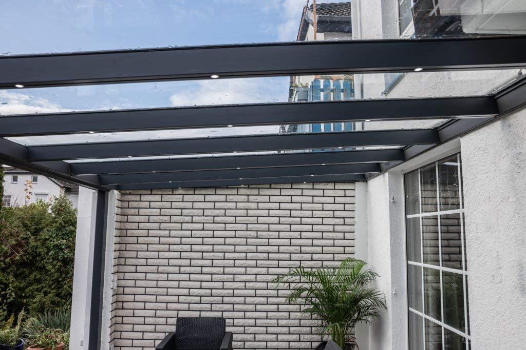 VITRO - Cubierta para terraza (Cristal auténtico, Aluminio, 7 x 4 ...