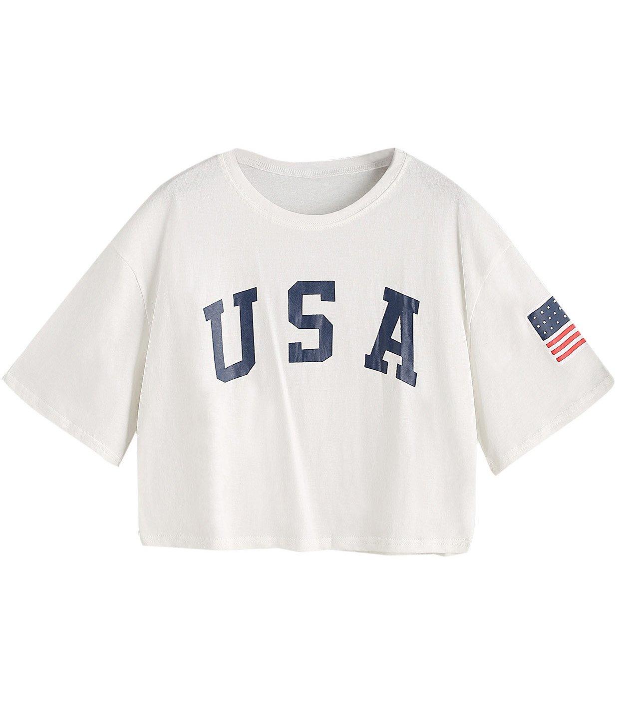 SweatyRocks Women's Letter Print Crop Tops Summer Short Sleeve T-shirt (X-Large, White)