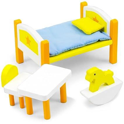 Dreamland Children\'s Bedroom Set, Colorful Wooden Dollhouse Furniture (6  pcs.) by Imagination Generation