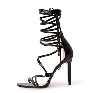 01a9ff6ffee3 Onlymaker Women s Gladiator Ankle Strap Lace up Open Toe Stiletto Harmoni Heeled  Strappy Sandals Black 5