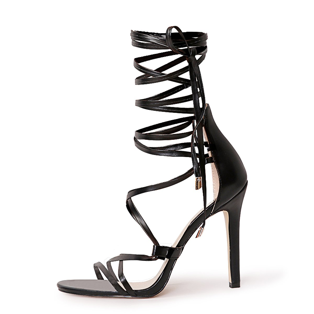 onlymaker Women's Gladiator Ankle Strap Lace up Open Toe Stiletto Harmoni Heeled Strappy Sandals Black 11 M US