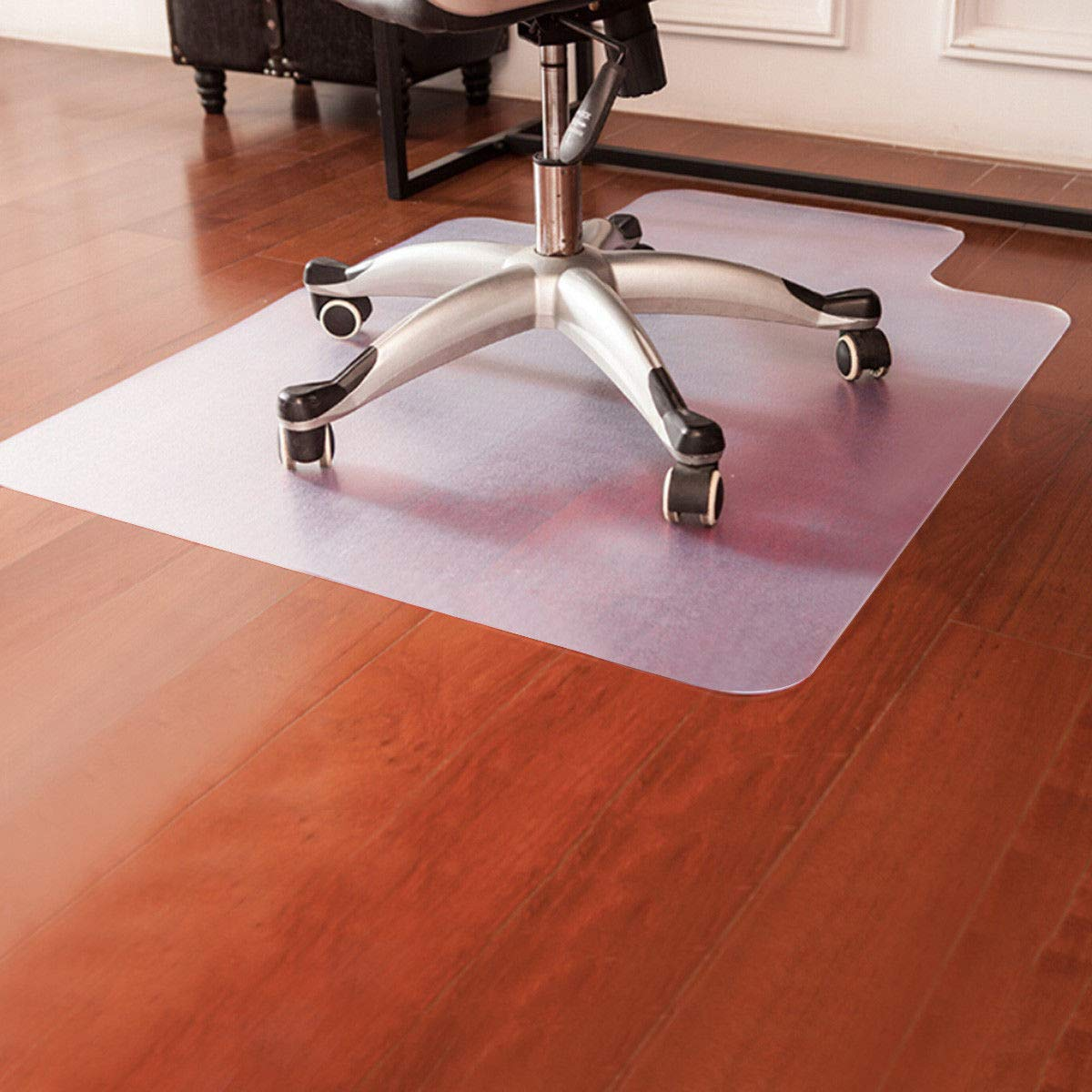 Goplus PVC Chair Mat for Hardwood Floor 48'' x 36''Floor Protector Multi Purpose for Office and Home Thick Clear Anti-Slip Floor Protective Mats (48'' x 36'')