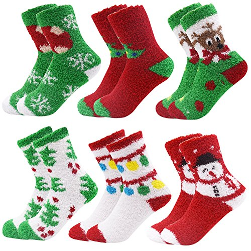 October Elf 6 Pairs Adult Christmas Holiday Socks Warm Winter Cozy Socks (One size, Mix)