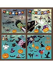 Simpeak Halloween Window Stickers, 9 Sheets Halloween Window Clings for Window Display, Removable Static Decals PVC Stickers for Halloween Party Decoration DIY Home Decoration Shop Decorations
